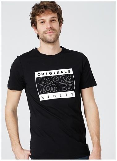 Jack & Jones Jack&Jones Erkek Siyah Bisiklet Yaka T-Shirt Siyah